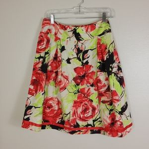 Jonathan Martin Floral Flare Skirt Red Green M